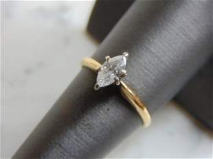Womens Vintage Estate 14K Gold Marquise Diamond Ring