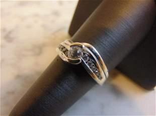 Womens Vintage Estate 14K White Gold Diamond Ring