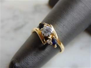 Womens Vintage Estate 14K Gold Sapphire Diamond Ring