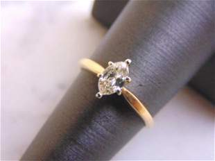 14K Yellow Gold Marquise Diamond Engagement Ring