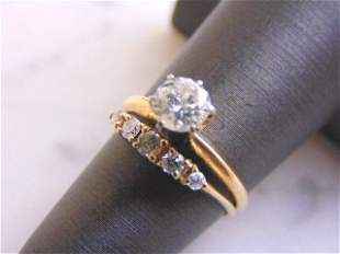 Womens 14K Yellow Gold Diamond Engagement Ring