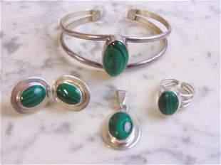 Womens Sterling Silver Malachite Pendant, Earrings Set