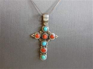 Womens Vintage Sterling Silver Cross Pendant Necklace
