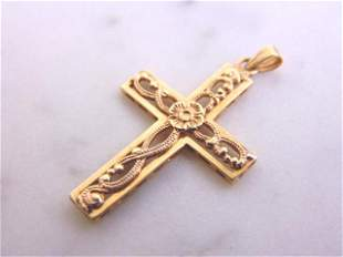 Womens Vintage Estate 14K Gold Religious Cross Pendant