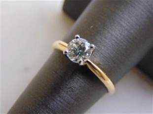 Womens Vintage Estate 14k Gold Solitaire Diamond Ring