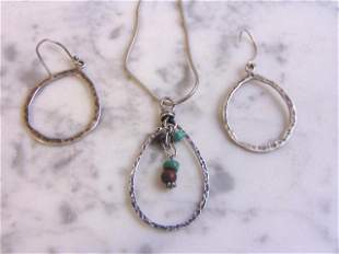 Womens Sterling Silver Earrings, Necklace & Pendant Set