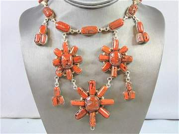 Womens Vintage Estate Sterling Silver Coral Necklace