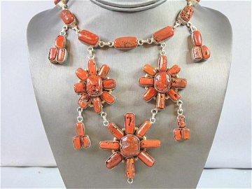 Womens Vintage Estate Sterling Silver Coral Necklace