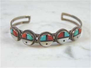Womens Sterling Silver Southwestern Cuff Bracelet