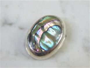 Womens Vintage Estate Sterling Silver Abalone Pendant