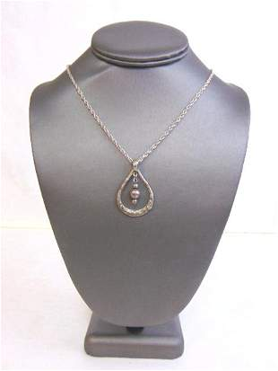 Women's Vintage Sterling Silver Hand Hammered Pendant