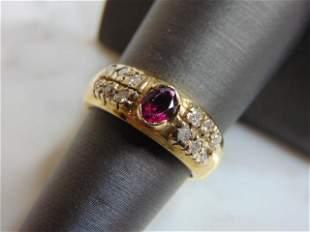 Womens Vintage 14K Gold Ring w/ Diamonds & Garnet