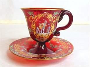 Vintage Antique Hand Blown Venetian Cup Saucer