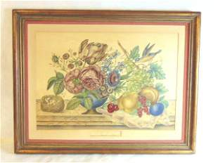 Antique French Floral Still Life Litho by Le Grand