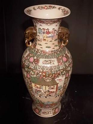 "VINTAGE ROSE MEDALLION CHINESE 36"" FLOOR VASE"