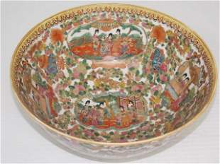 HAND PAINTED CHINESE ROSE MEDALLION BOWL BY WAH TUNG