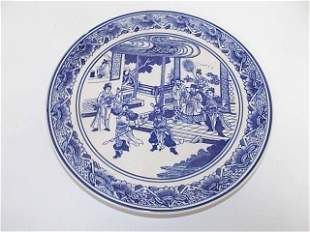 BLUE & WHITE CHINESE PORCELAIN PLATE W/ OUTDOOR SCENE