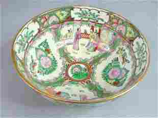 VINTAGE ANTIQUE CHINESE HAND PAINTED PORCELAIN BOWL