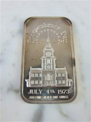 COLLECTIBLE 1973 INDEPENDENCE DAY FINE SILVER INGOT