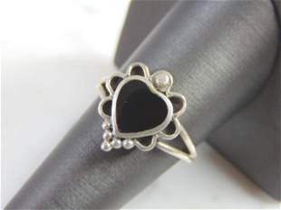Vintage Estate Sterling Silver  Heart Shaped Ring