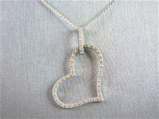 Vintage Sterling Silver Necklace Diamond Heart Pendant