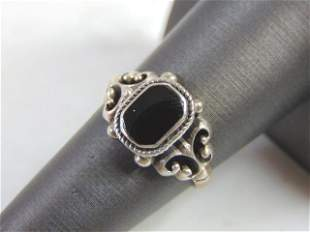 Womens Vintage Estate Sterling Silver Marcasite Ring