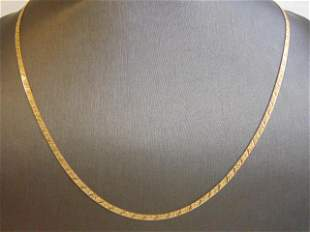 Vintage Estate 14k Yellow Gold Herringbone Necklace