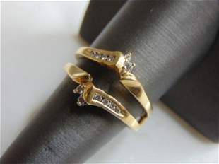 Womens Vintage Estate 14K Gold Diamond Ring Guard