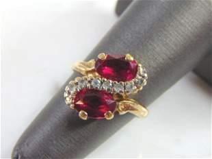 Womens Vintage Estate 10K Yellow Gold Garnet Ring