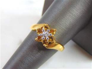 Womens Vintage Estate Sterling Silver Gold Tone Ring