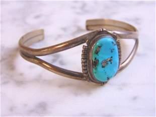 Vintage Sterling Silver Turquoise Navajo Cuff Bracelet