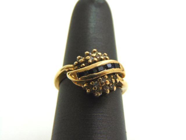 Womens Vintage 14K Gold Sapphire Ring w/ Diamonds
