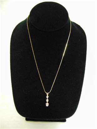 Vintage 14K Yellow Gold Necklace w/ Clear Stone Pendant