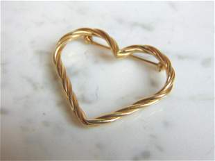 Womens Vintage Estate 14k Gold Heart Brooch Pin