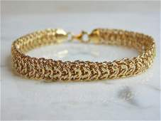 Womens Vintage Estate 14K Yellow Gold Mesh Bracelet