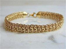 Womens Vintage Estate 14K Yellow Gold Mesh Bracelet