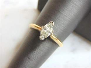 Womens 14K Gold Marquise Diamond Engagement Ring