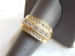 Mens Vintage Estate 10K Yellow Gold Diamond Band Ring