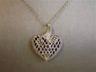 Women's Vintage Estate Sterling Silver Heart Necklace