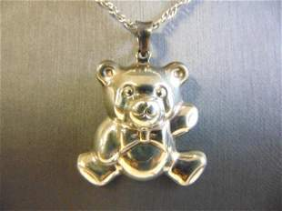 Vintage Sterling Silver Necklace w/ Teddy Bear Pendant