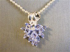 Womens Sterling Silver Amethyst Pendant W/ Necklace