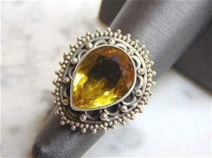 Womens Vintage Sterling Silver Golden Beryl Stone Ring