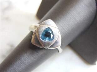 Womens Vintage Sterling Silver Aquamarine Stone Ring