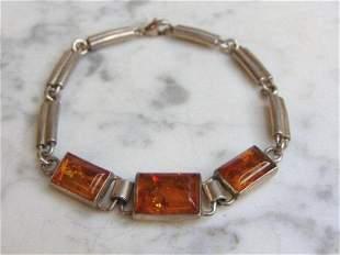 Womens Vintage Sterling Silver Amber Stone Bracelet