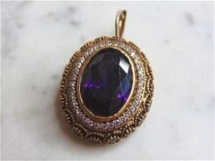 Womens Vintage Sterling Silver Amethyst Stone Pendant
