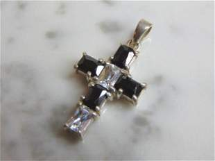 Womens Vintage Sterling Silver CZ Stones Cross Pendant