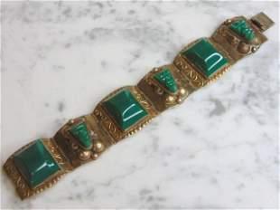 Womens Vintage Sterling Silver Aventurine Bracelet