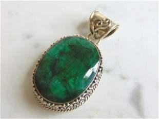Womens Vintage Sterling Silver Aventurine Pendant