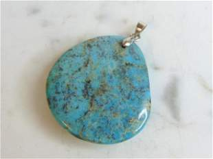 Womens Vintage Estate Sterling Silver Turquoise Pendant