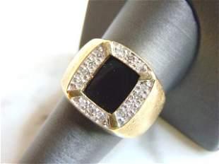 Mens Vintage Estate 14K Yellow Gold Onyx & Diamond Ring